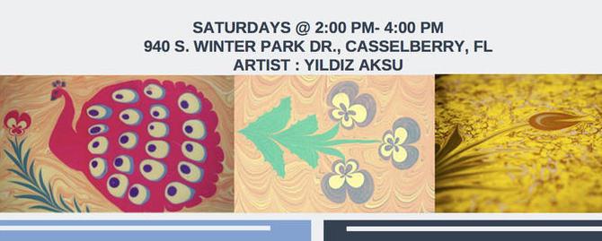 ebru paper marbling art workshop series